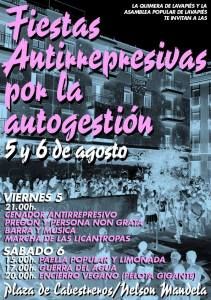 Cartel fiestas antirepresivas